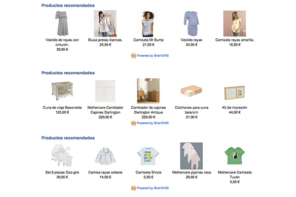 Examples of Recommendations in MotherCare Online Store