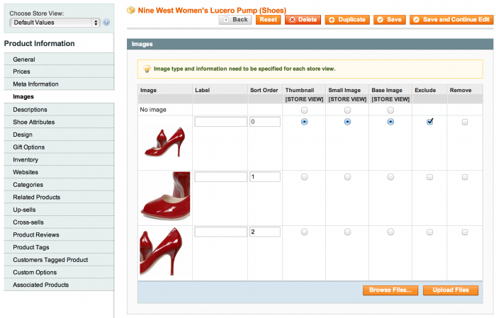 a capture of a image apartment to Magento Dashboard