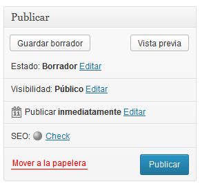 SEO en wordpress: guardar el post como borrador