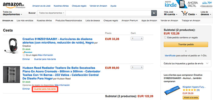 Amazon: Guardar para después