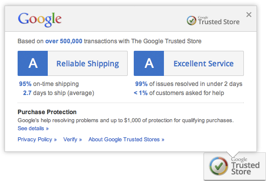 Captura de pantalla de Google Trusted Store
